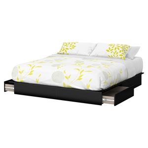 Step One King Platform Bed - 2 Drawers, Pure Black