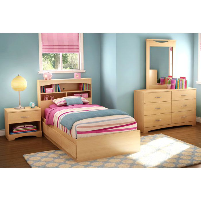 Step One Twin Bookcase Bed in Natural Maple - SS-3113212-3113098