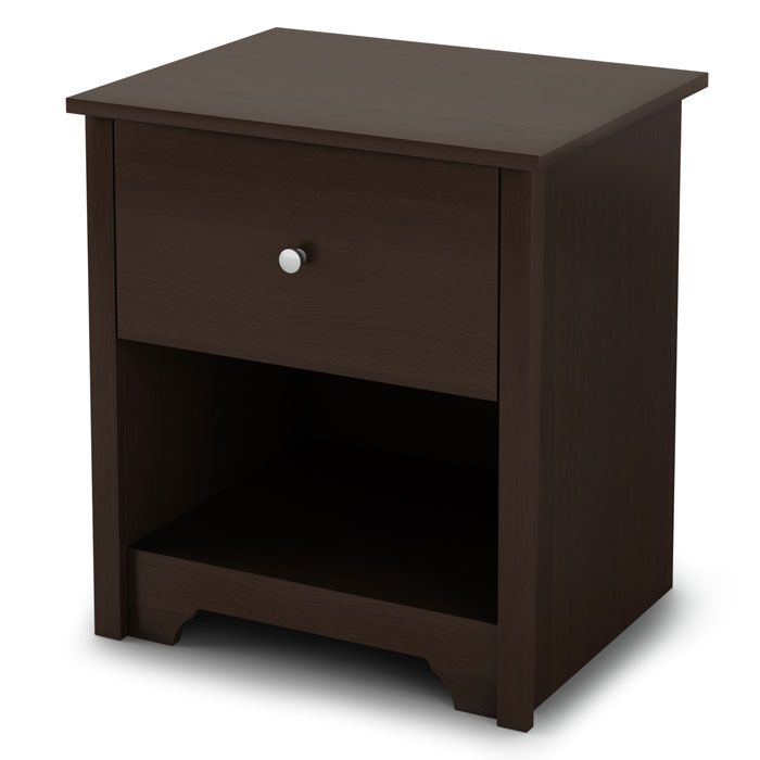 Vito Single Drawer Nightstand in Chocolate