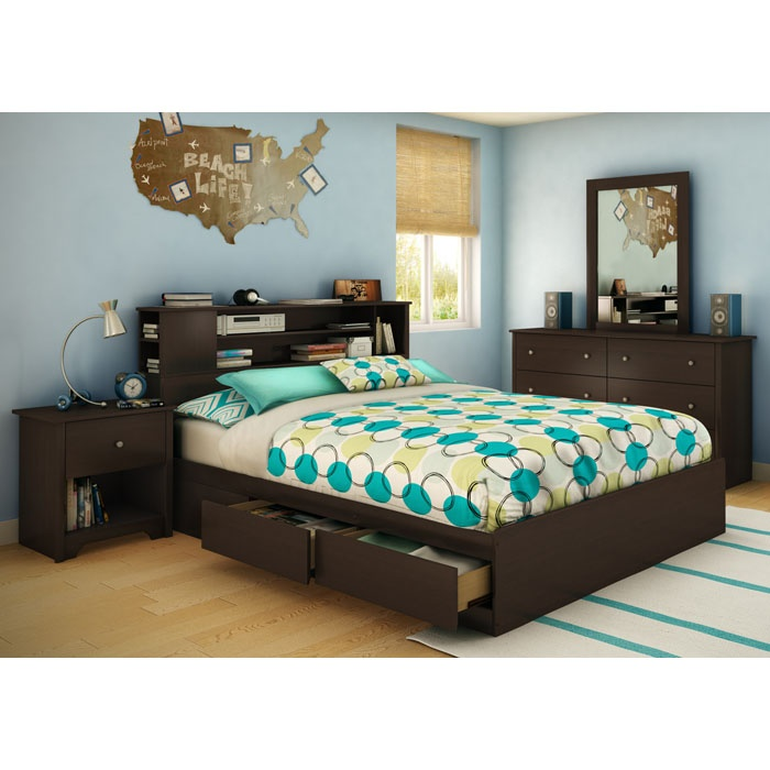 Vito Queen Chocolate Bedroom Set with Bookcase Bed