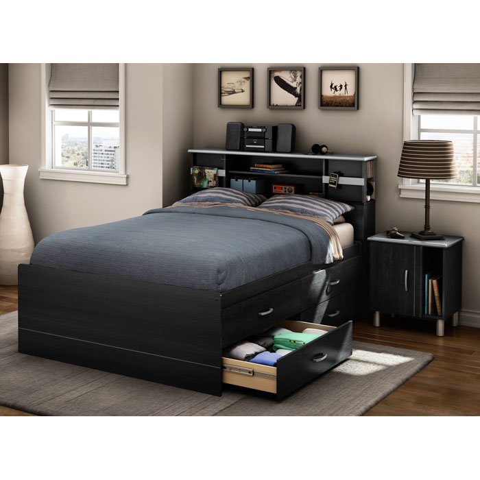 Cosmos Full Captain's Bed with Nightstands
