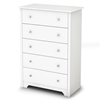 Vito 5-Drawer Chest in White