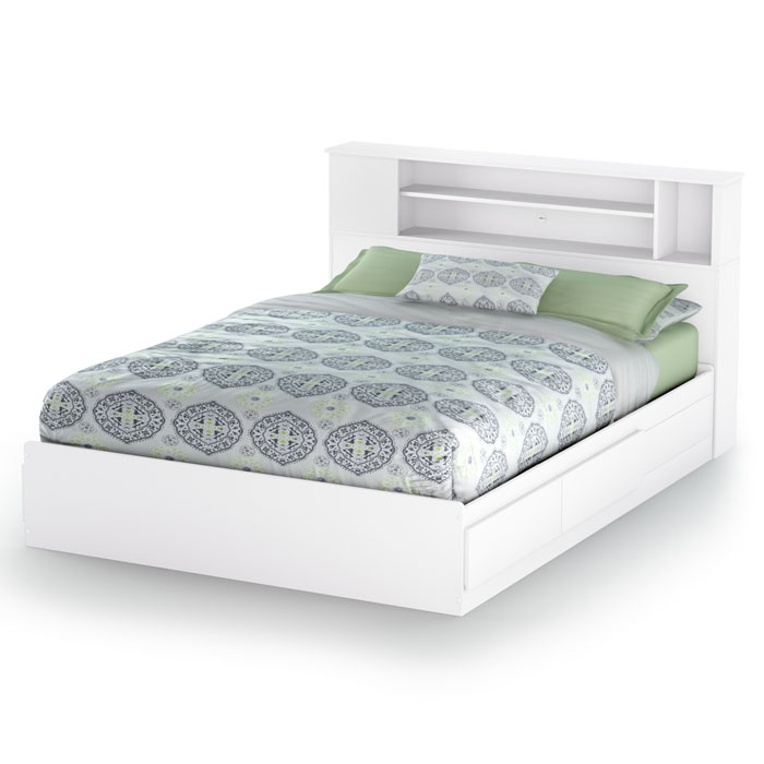 Vito White Queen Storage Bed With Bookcase Headboard   SS 3150210 3150092  ...