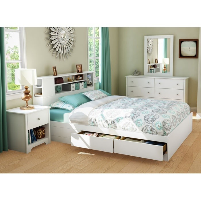 Vito White Queen Storage Bed With Bookcase Headboard Ss 3150210 3150092