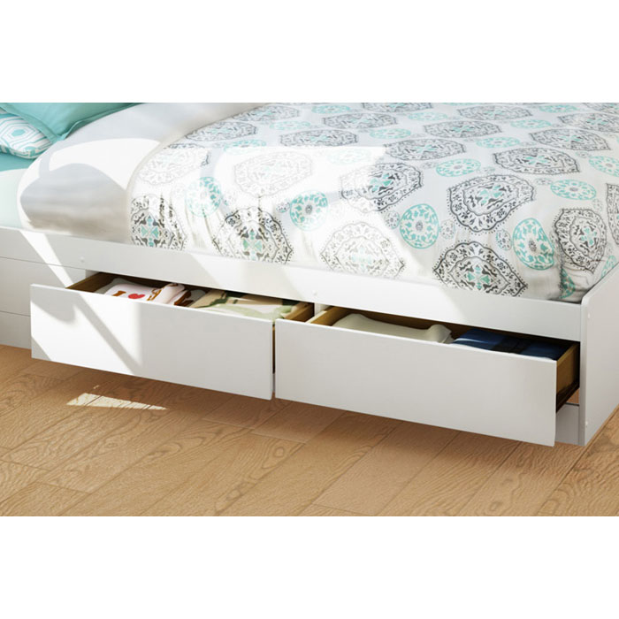 Vito White Queen Storage Bed with Bookcase Headboard - SS-3150210-3150092
