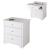 Vito Nightstand - 1 Sliding Tray, 2 Drawers, Pure White - SS-3150060