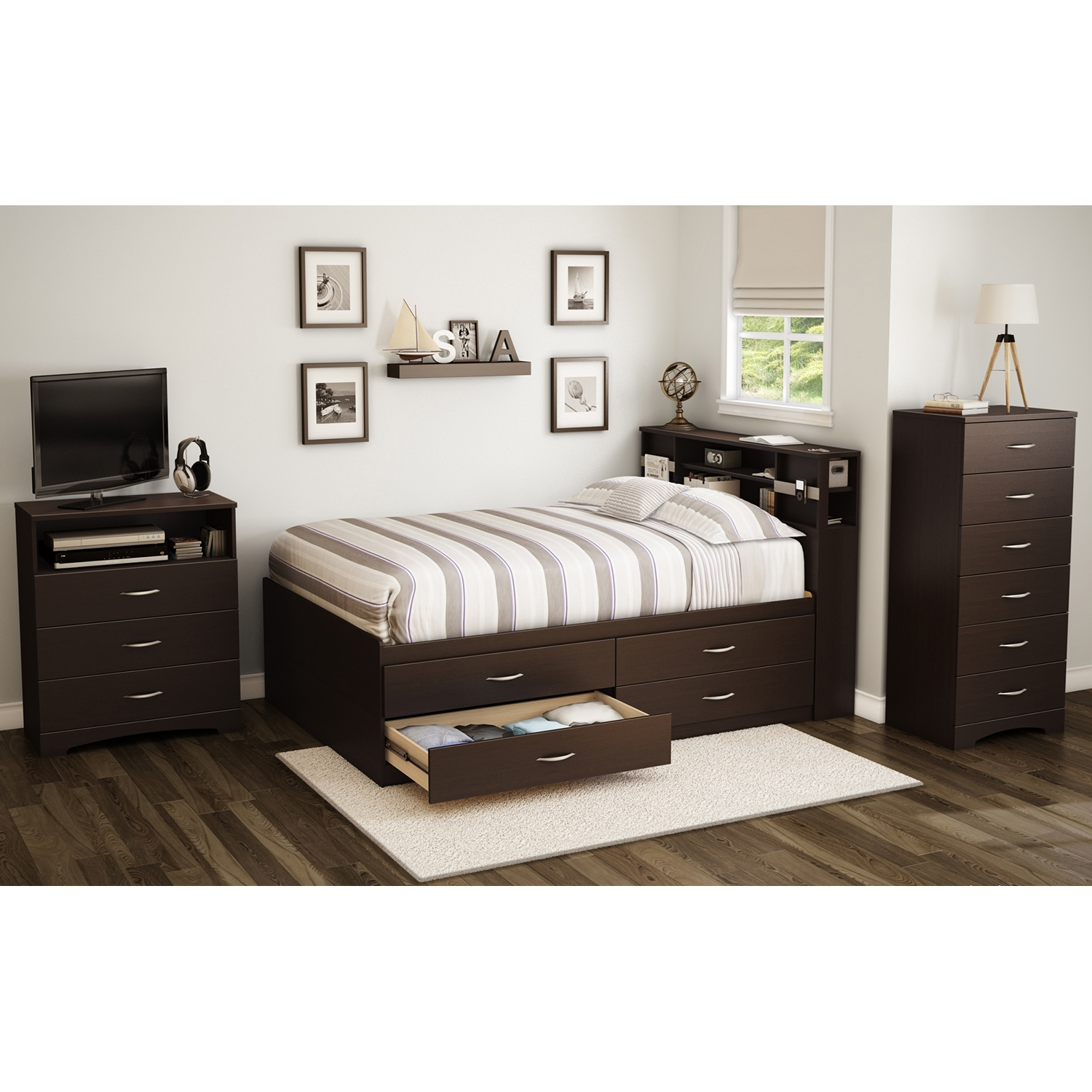Step One Full Captain Bed - 4 Drawers, Chocolate - SS-3159209