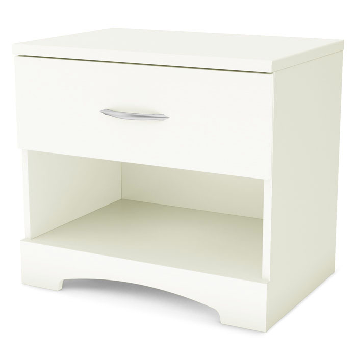 Step One Contemporary White Nightstand