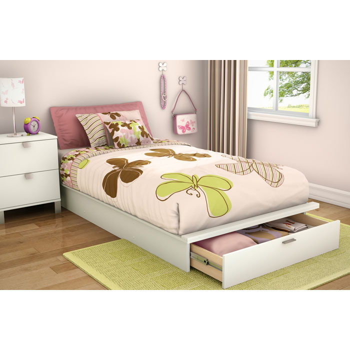 Step One Twin White Platform Bed with Drawer - SS-3160245