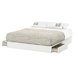 Step One King Platform Bed - 2 Drawers, Pure White - SS-3160237