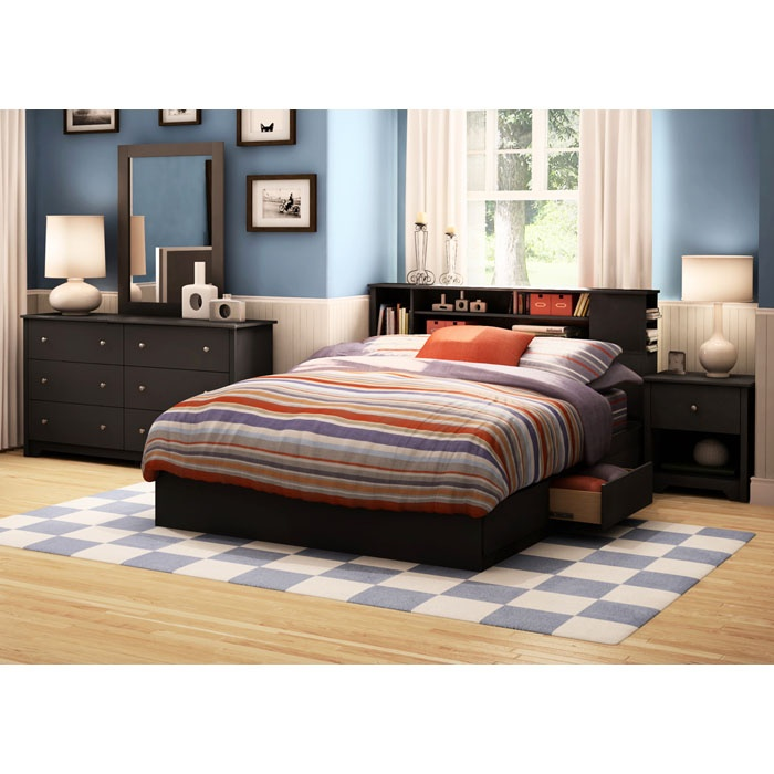 vito black queen bedroom set with bookcase bed dcg stores