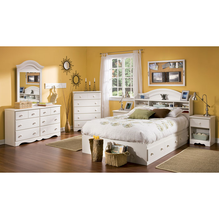 Summer Breeze Whitewash Full Mate's Bed - SS-3210211