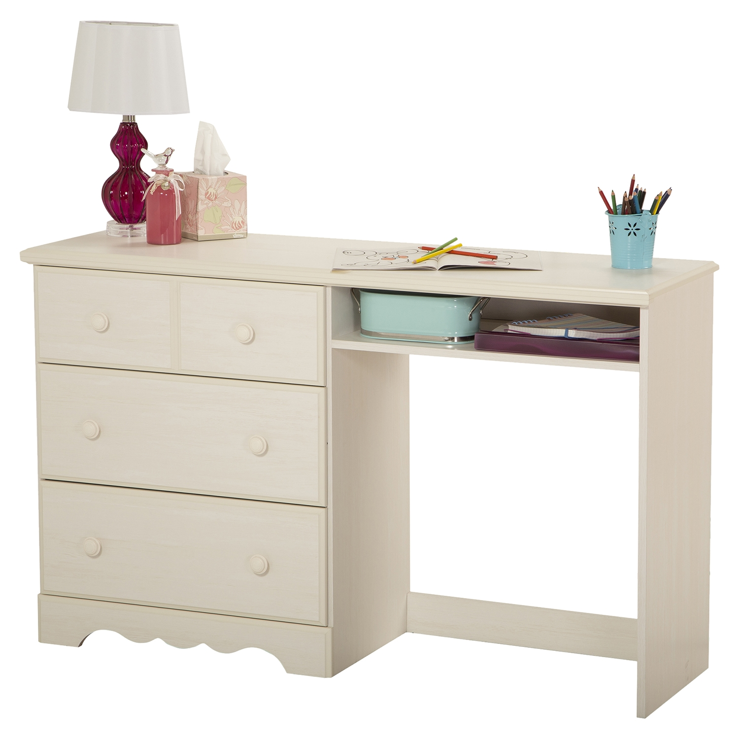Summer Breeze Desk - 3 Drawers, White Wash - SS-3210070