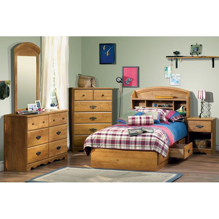 Prairie Twin Bookcase Headboard in Country Pine - SS-3232098