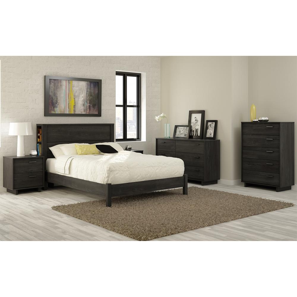 Fynn full platform bed gray oak dcg stores - Oak platform beds ...