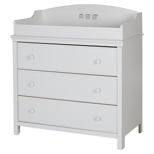 Cotton Candy Changing Table - 3 Drawers, Pure White