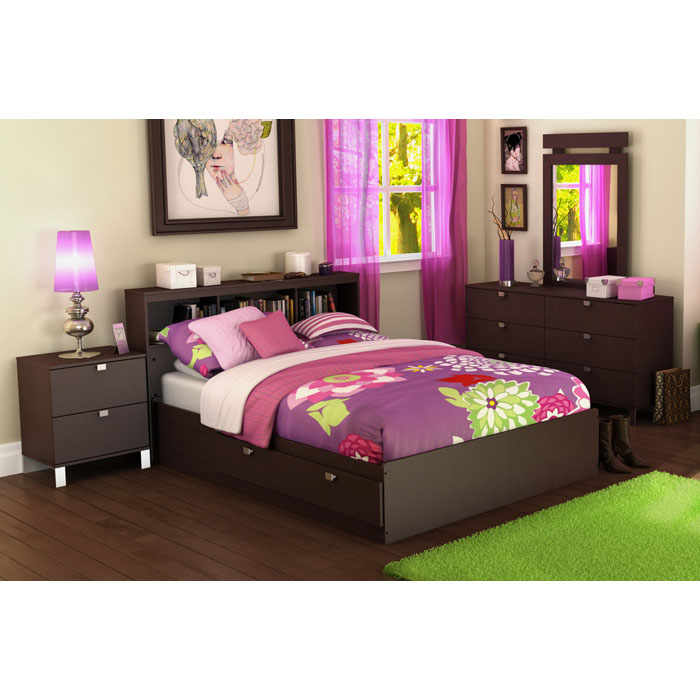 Cacao 4 Piece Full Bookcase Bedroom Set - SS-3259-4PC