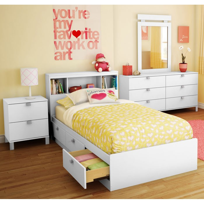 Sparkling Twin Mate's Bed in Pure White - SS-3260080