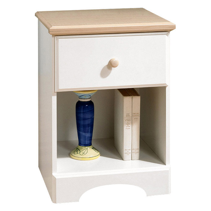 Summertime Nightstand in White and Natural Maple - SS-3263062