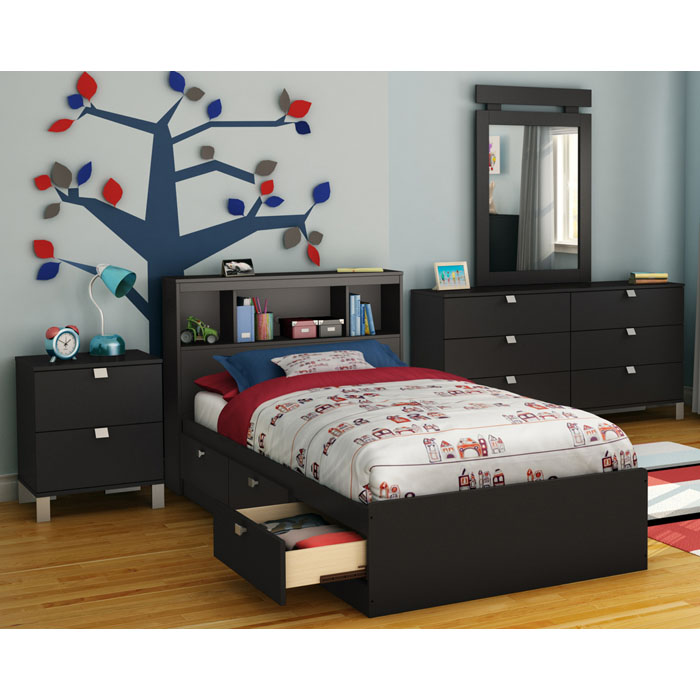 Spark 4 Piece Youth Bedroom Set in Black - SS-3270-4PC