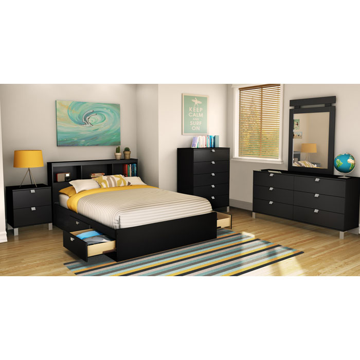 Spark Full Bookcase Headboard in Black - SS-3270093