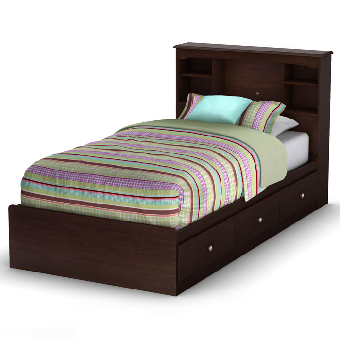 Details About White 3 Piece Storage Drawers Twin Bed Box: Willow Twin Mate's Bookcase Bed In Havana Brown