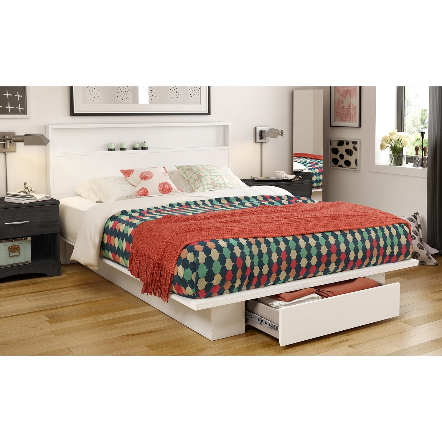 Holland Full/Queen Platform Bed - 1 Drawer, Pure White - SS-3340215