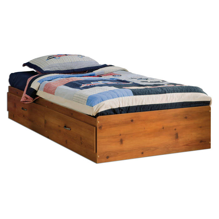 Logik Sunny Pine Twin Mate's Bed with 2 Drawers