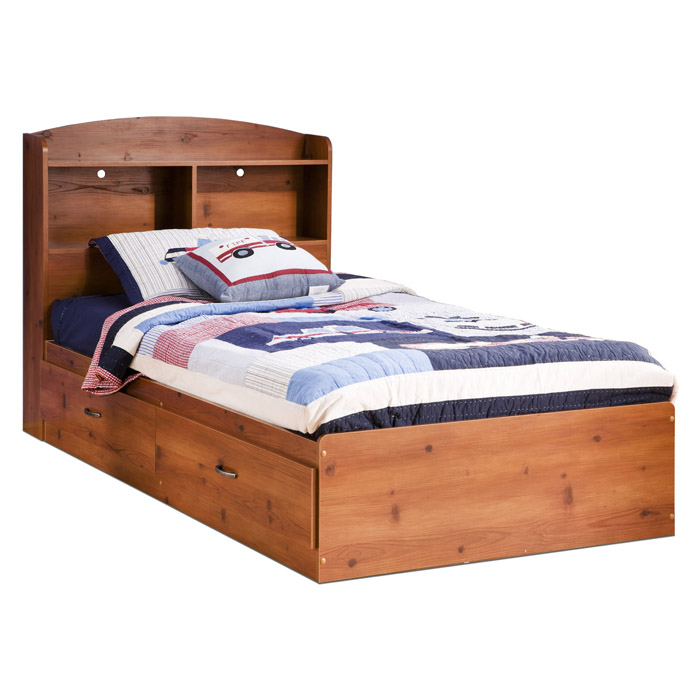 Logik Sunny Pine Bookcase Platform Bed with Drawers