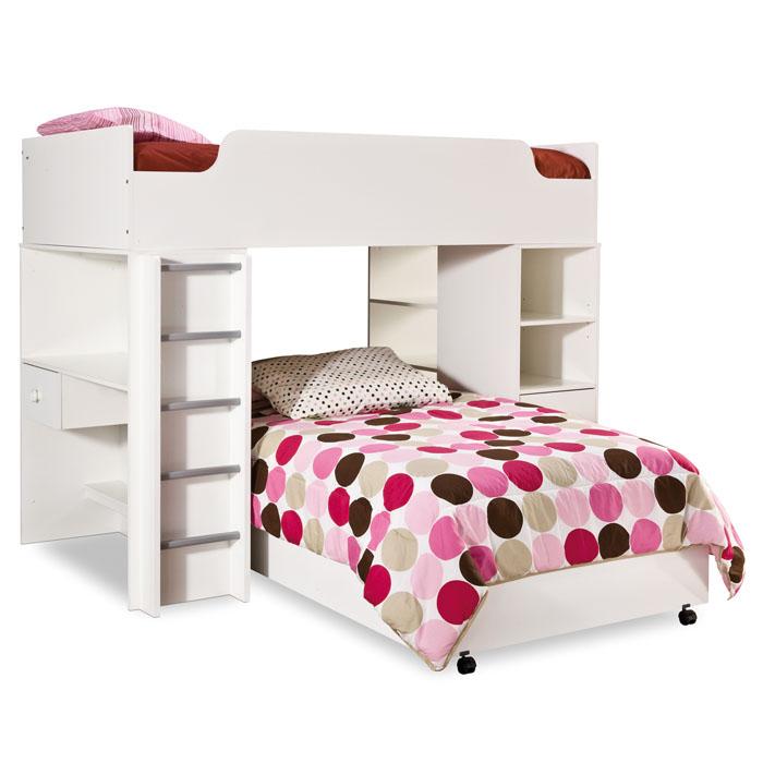 South Shore Logik 4 Piece Pure White Twin Kids Bedroom Set: Logik Twin Loft Bedroom Set In White
