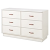 Logik White Dresser with 6 Drawers - SS-3360027