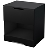 Holland Contemporary Pure Black Nightstand with Open Storage - SS-3370062