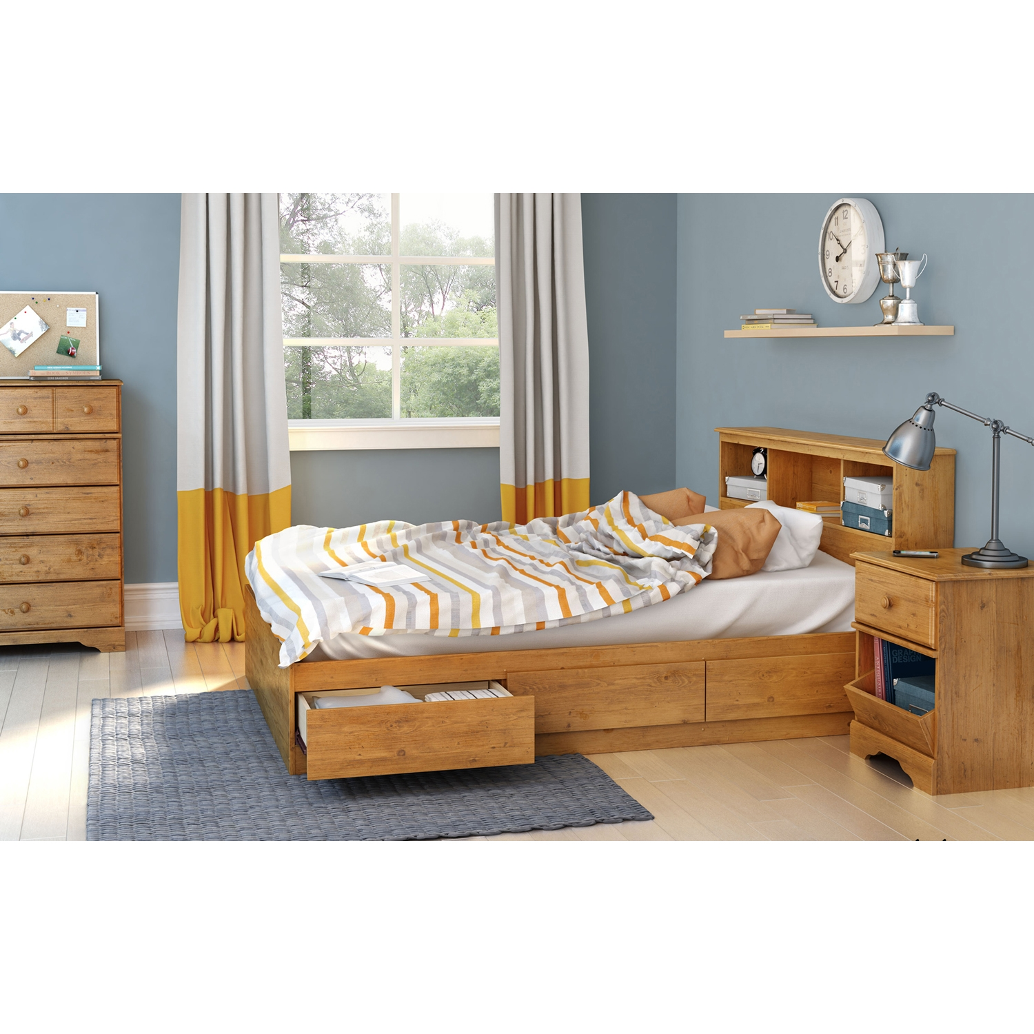 Little Treasures Full Bookcase Headboard - Country Pine - SS-3432093