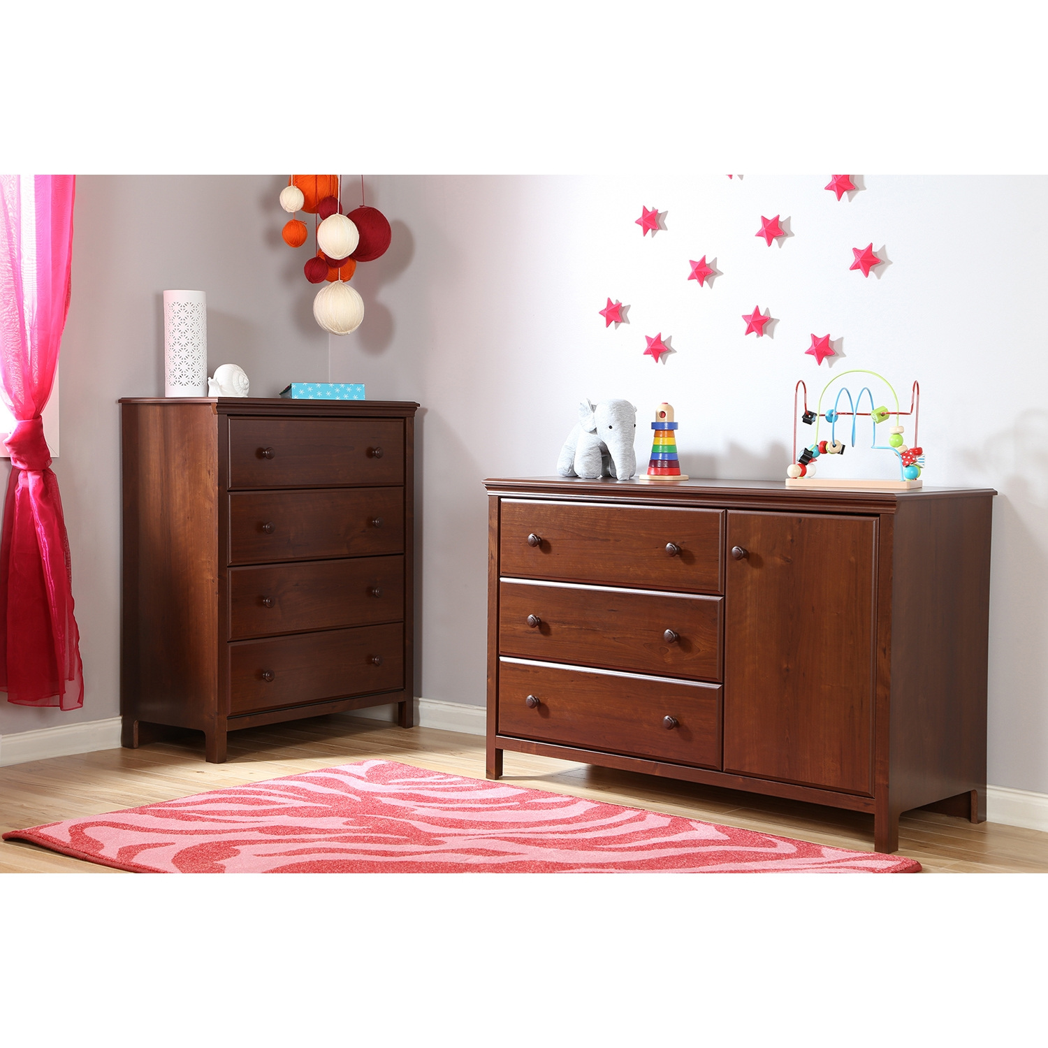 Cotton Candy Changing Table - Removable Changing Station, Sumptuous Cherry - SS-3456333
