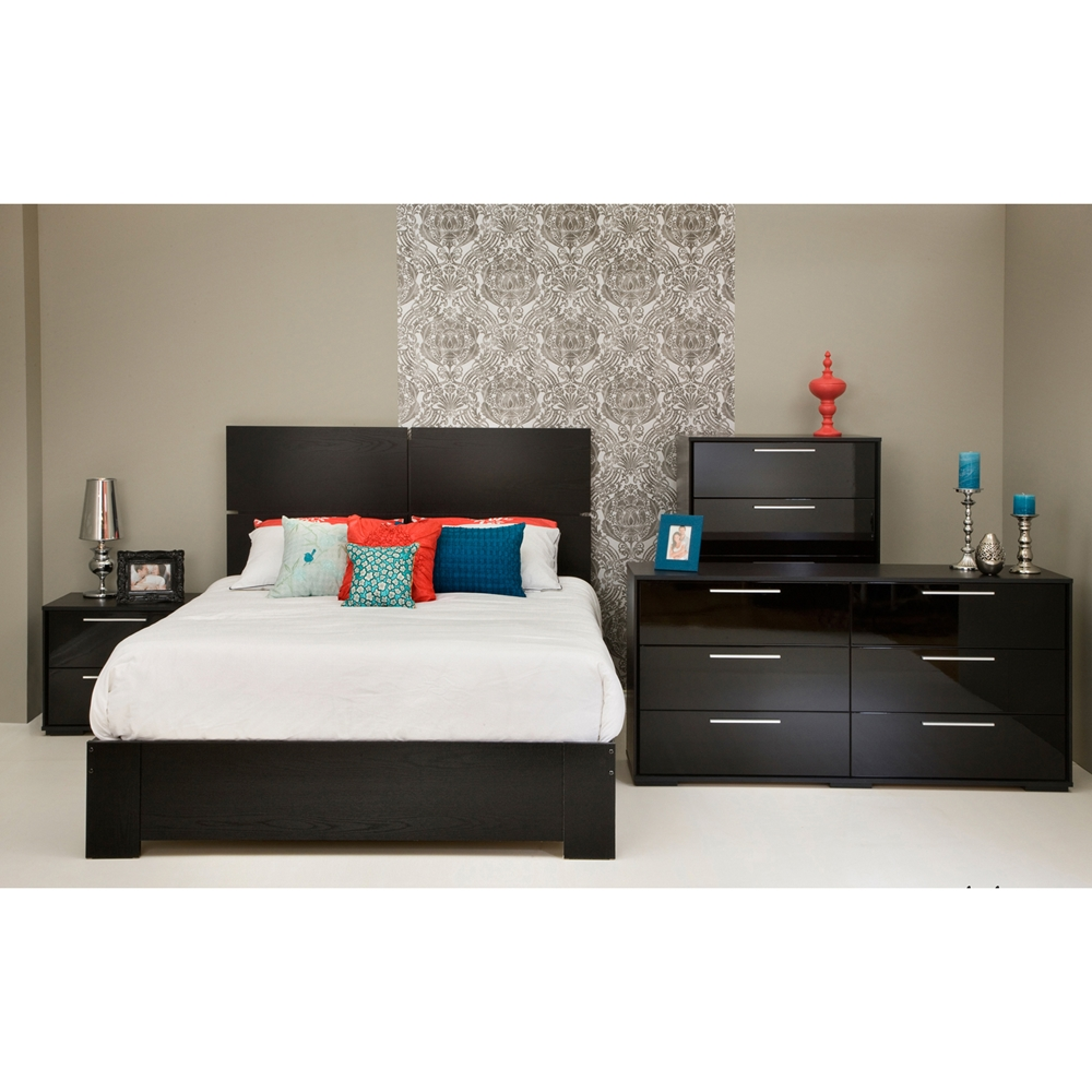 Mikka queen platform bedroom set black oak dcg stores - Black queen bedroom furniture set ...