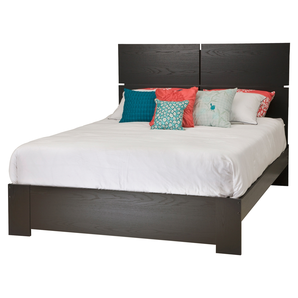 mikka queen platform bedroom set black oak dcg stores. Black Bedroom Furniture Sets. Home Design Ideas