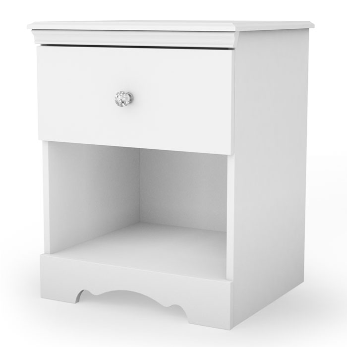 Crystal Elegant Nightstand in White - SS-3550062