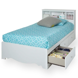Crystal White Twin Mates Bed with Bookcase Headboard