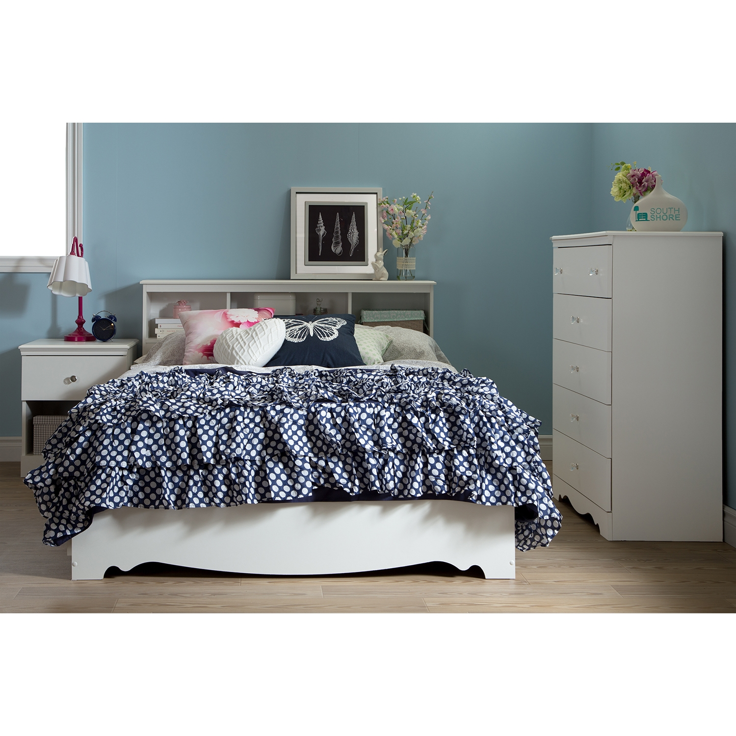 Crystal Full Mates Bed - 3 Drawers, Pure White - SS-3550211