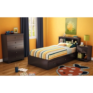 Zach Twin Mates Bedroom Set - 3 Drawers, Chocolate