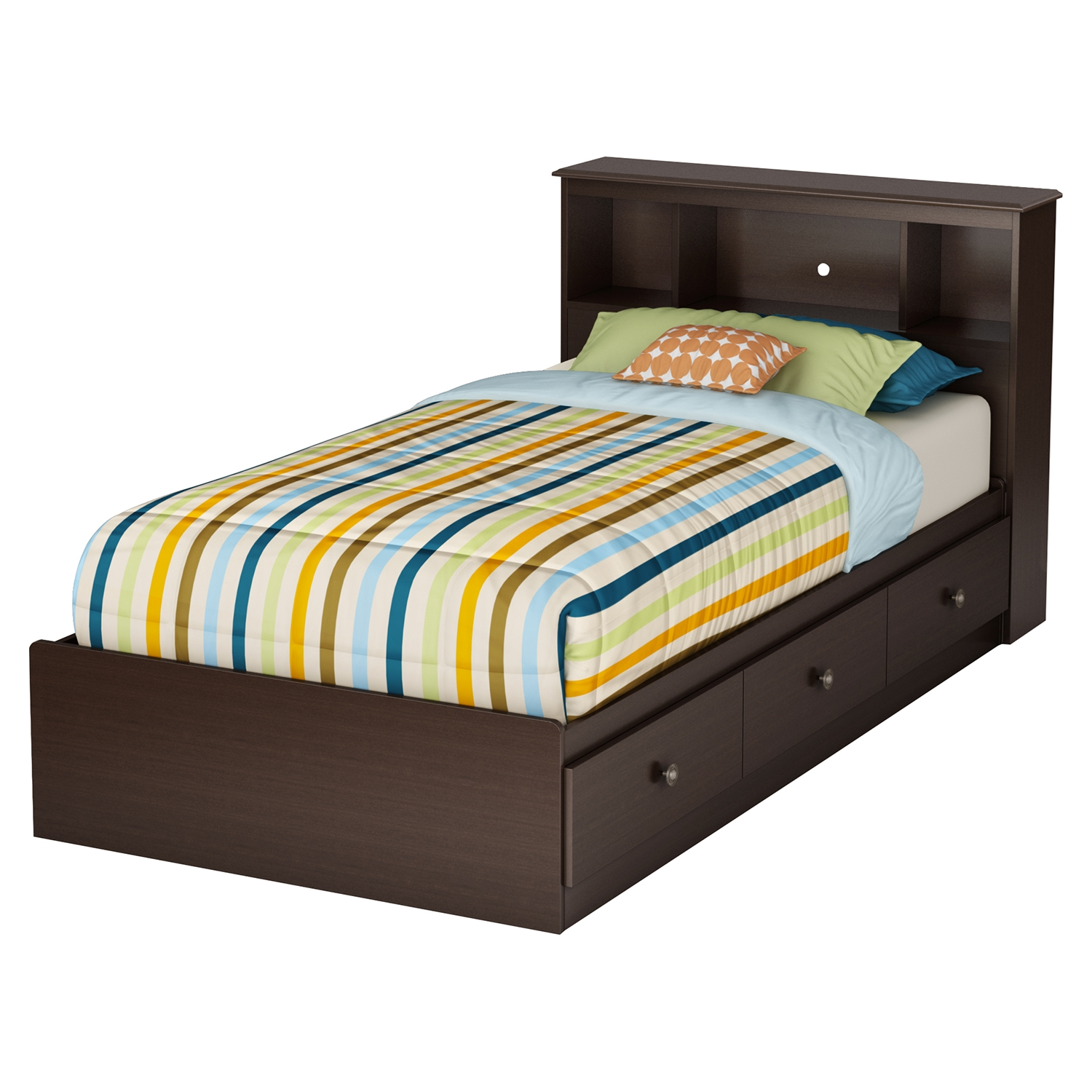 Zach Twin Mates Bedroom Set - 3 Drawers, Chocolate - SS-35690-SET
