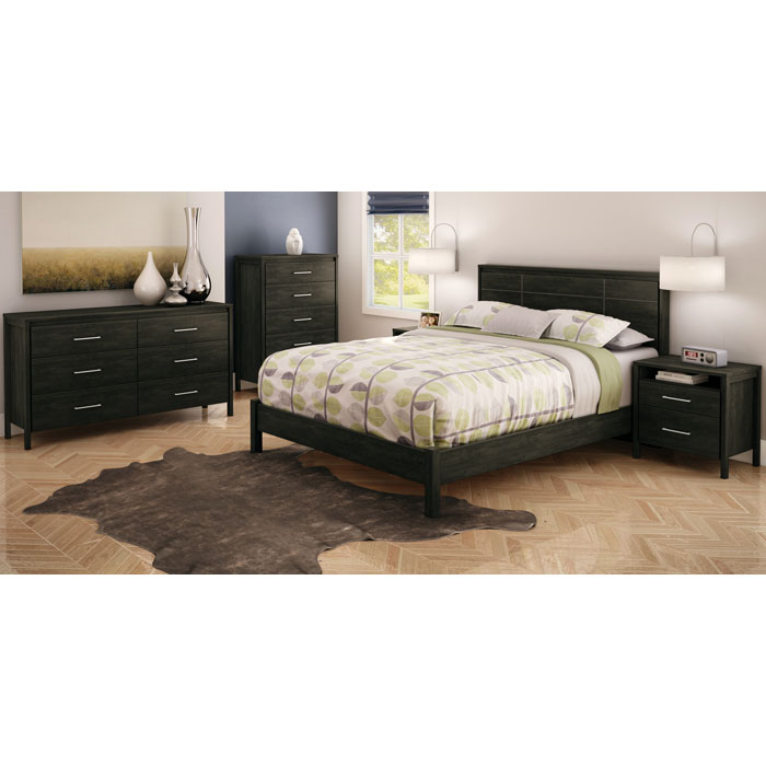 Gravity Modern Queen Bedroom Set In Ebony Dcg Stores