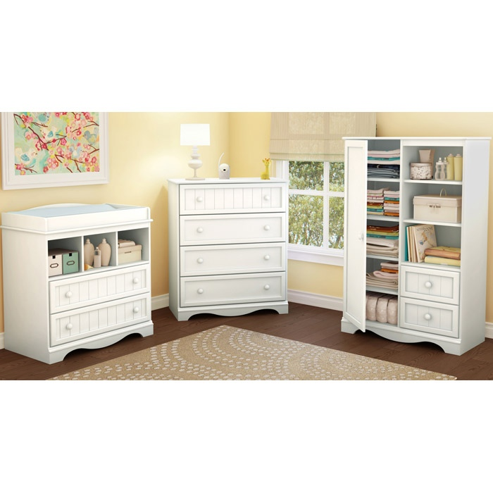Savannah Cottage Style 4-Drawer Chest in White - SS-3580034