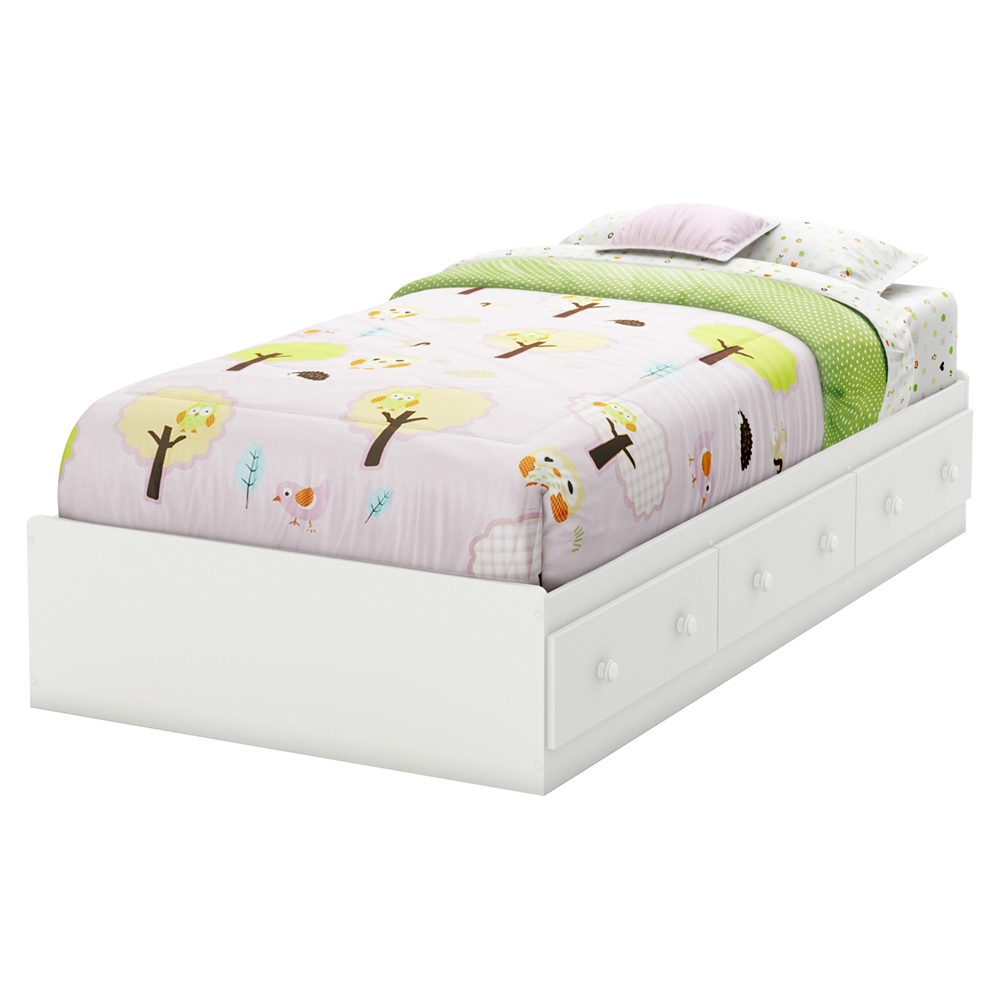 Savannah twin mates bed 3 drawers pure white dcg stores for Bed 3
