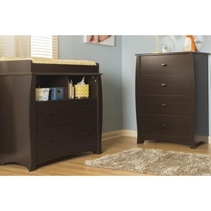 Beehive Changing Table and 4 Drawers Chest - Removable Station, Espresso