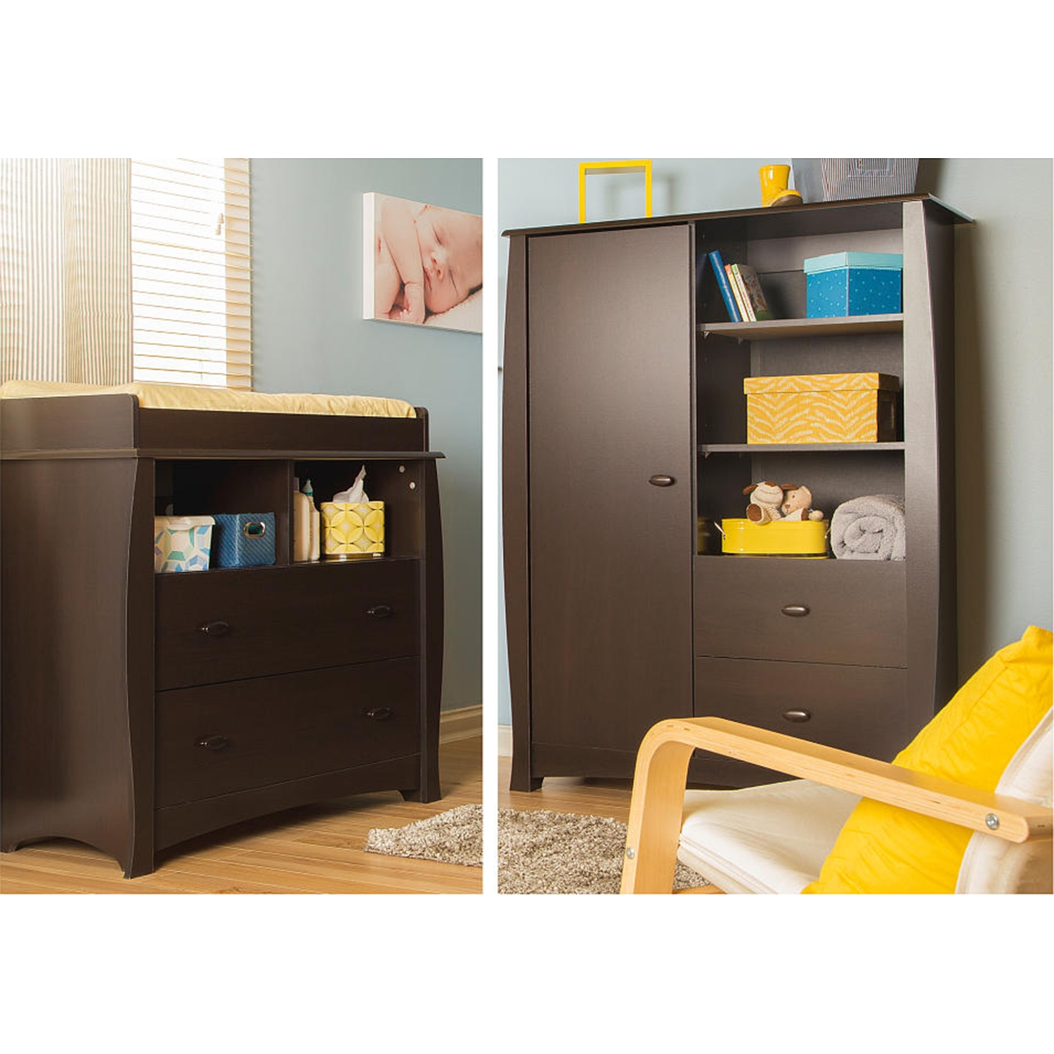 Beehive Changing Table and Armoire - Removable Changing Station, Espresso - SS-3619B2