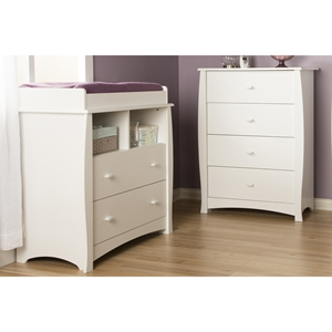 Beehive Changing Table and 4 Drawers Chest - Removable Station, Pure White
