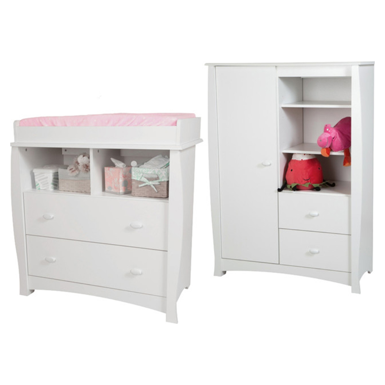 Beehive Changing Table and Armoire - Removable Station, Pure White - SS-3640B2