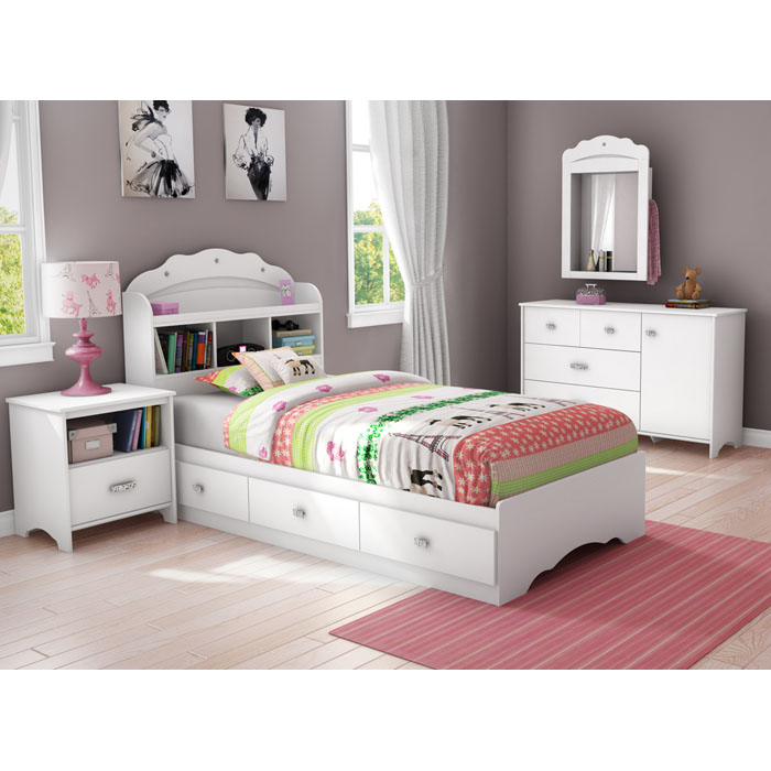 Tiara Twin Size White Bookcase Bed - SS-3650212-3650098