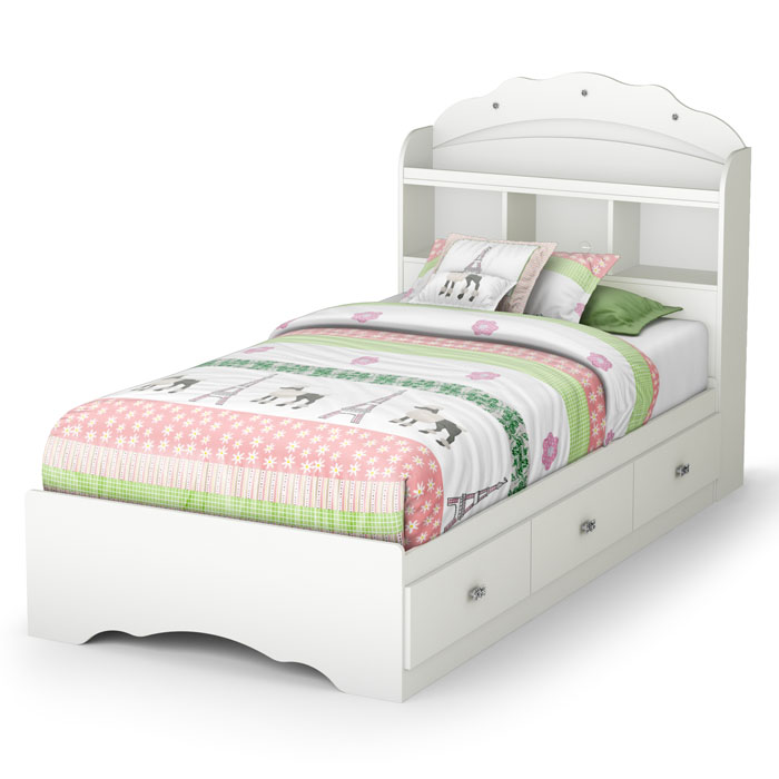 white bookcase storage bed. Modren Storage Tiara Twin Size White Bookcase Bed  SS36502123650098  Intended Storage